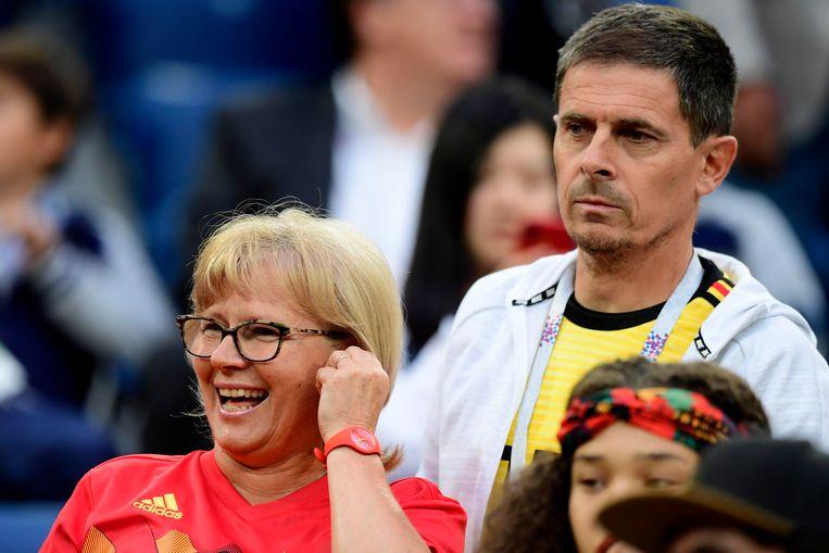 Moeder Carine en vader Thierry Hazard tijdens het WK voetbal in Rusland.