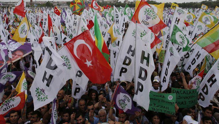 Aanhangers van HDP tijdens een mars vorige zaterdag.