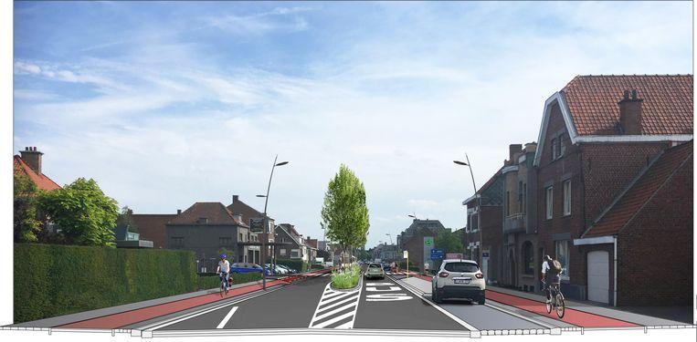 Zo moet de Brugsesteenweg tussen de Noordlaan en de Koning Leopold III-laan er eind 2020 uitzien.