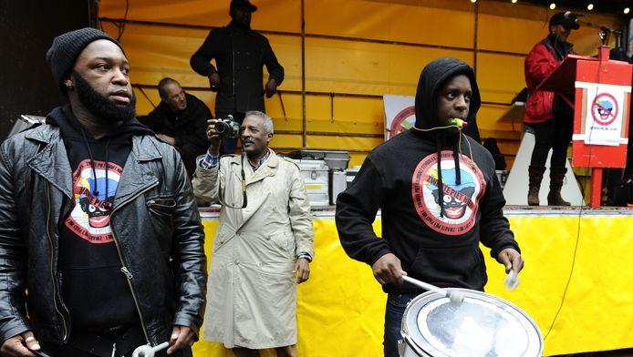Demonstratie tegen Zwarte Piet bij de intocht in Amsterdam, vorig jaar.