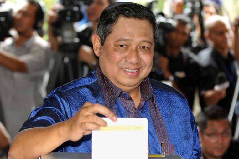 De Indonesische president Yudhoyono brengt donderdag zijn stem uit. (AFP) Beeld AFP