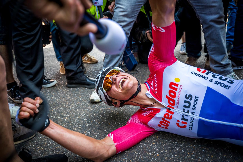 Mathieu van der Poel na zijn winst in de Amstel Gold Race.