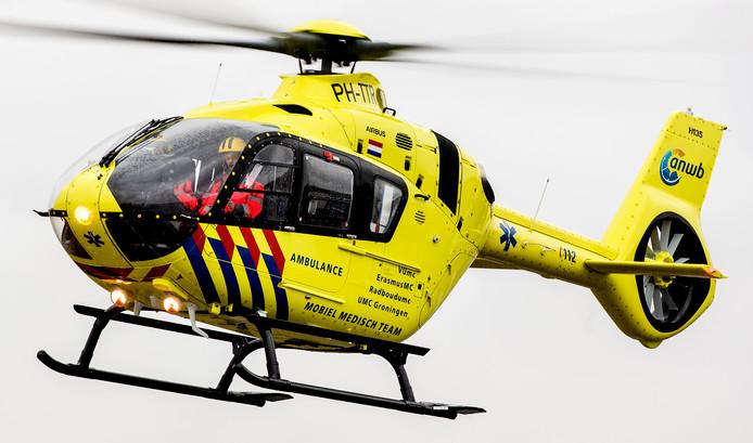 De traumahelikopter is uitgerukt voor het ongeluk