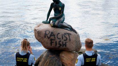 """""""Racistische vis"""": sokkel van beeld Kleine Zeemeermin in Kopenhagen beklad"""