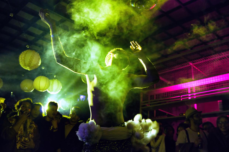 Een afterparty tijdens het Mawjoudin Queer Film Festival in Tunis. Beeld null