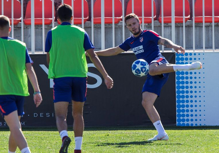 Saul vandaag op de training van Atlético in de voorbereiding op het duel met Club Brugge woensdag in de Champions League.