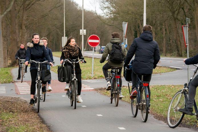 Dagelijks steken veel scholieren op de fiets de N798 over bij de Hoofdlaan in Putten