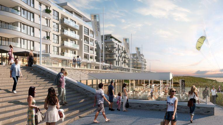 Impressie van Nieuw Kijkduin. De bestaande boulevard wordt gesloopt. De nieuwbouw is naar verwachting eind 2022 of in 2023 af. Beeld Fred Developers