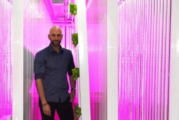 Patrick Stoffer tussen zijn met LED-lampen verlichte kweekpalen. Volgende week worden de eerste plantjes geplaatst.