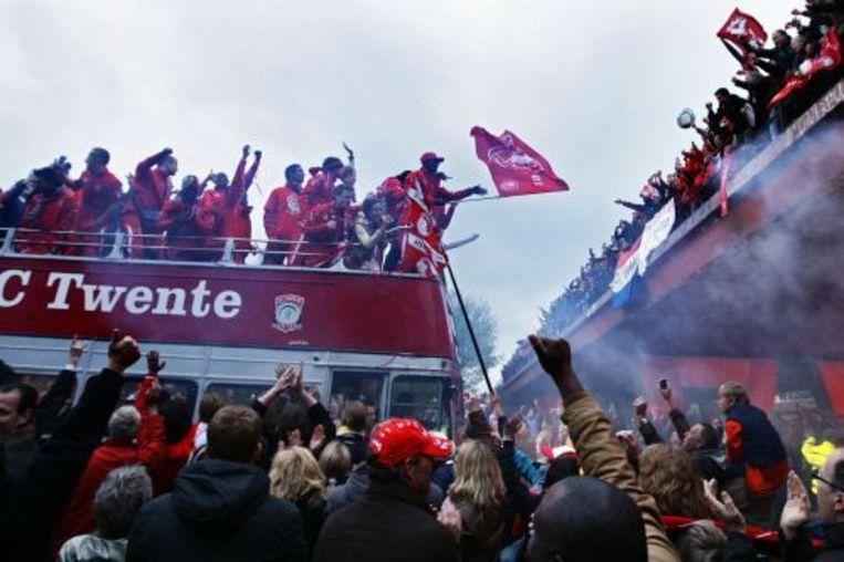 De spelers van FC Twente zondag in een cabriobus. ANP Beeld