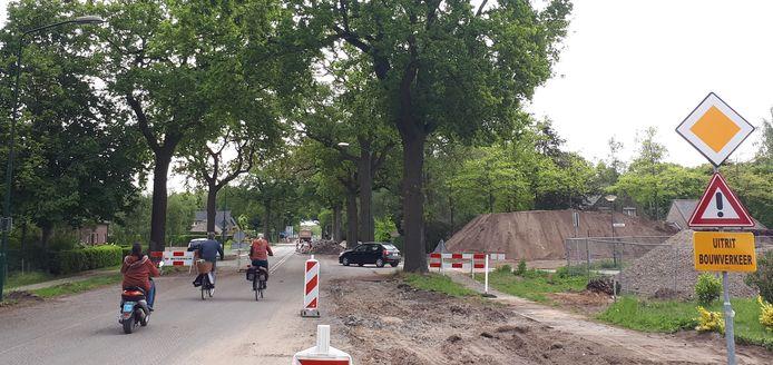 (Snor-)fietsers onder de grote eiken van de Graafsebaan. Aan de rechterkant, voor en direct achter de donkere auto, de twee exemplaren die weg moeten.