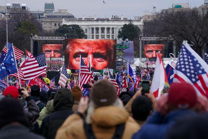 Massabijeenkomst van Trumpaanhangers bij het Witte Huis, voorafgaand aan de bestorming van het Capitool.