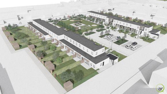 De huurwoningen worden gebouwd rond een gemeenschappelijk buurtplein.