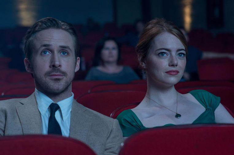 Emma Stone en Ryan Gosling in het veertien keer genomineerde La La Land. Beeld anp