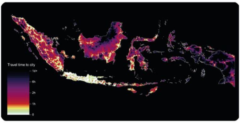 Reistijden naar de stad in Indonesië. Beeld rv
