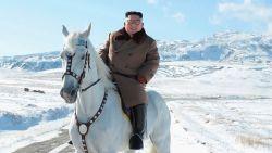 Bizar? Kim Jong-un beklimt berg in de sneeuw op wit paard