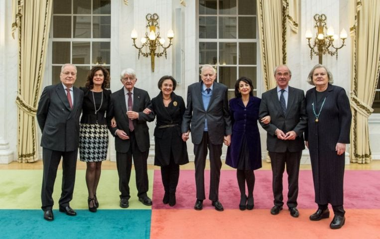 In januari 2017 dineerde voorzitter Arib met alle Kamervoorzitters sinds 1979. Beeld Tweede Kamer