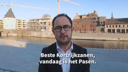 """Kortrijks burgemeester: """"Hou allemaal vol. Dan houden we in 2021 grote paaseierenraap aan verlaagde Leieboorden"""""""