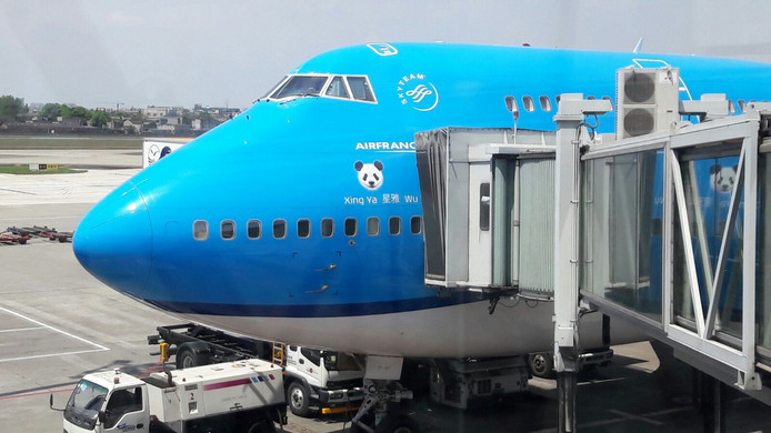 Een grote pandasticker op het vliegtuig.