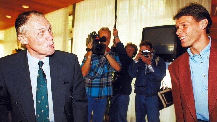 Michels en Van Basten in 1990. Beeld