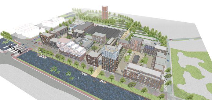 Het nieuwbouwplan Oranjekade in Helmond. Langs het kanaal valt het oude EDAH-kantoor op door de opbouw met opvallende, witte balkons.