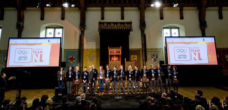 Team NL, de Olympische medaille-winnaars verzamelen zich in de Ridderzaal voor de huldiging. Beeld anp