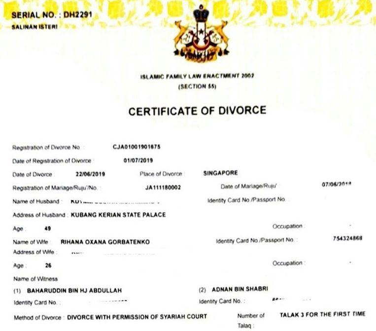 Het echtscheidingsdocument dat in handen is van Maleische media