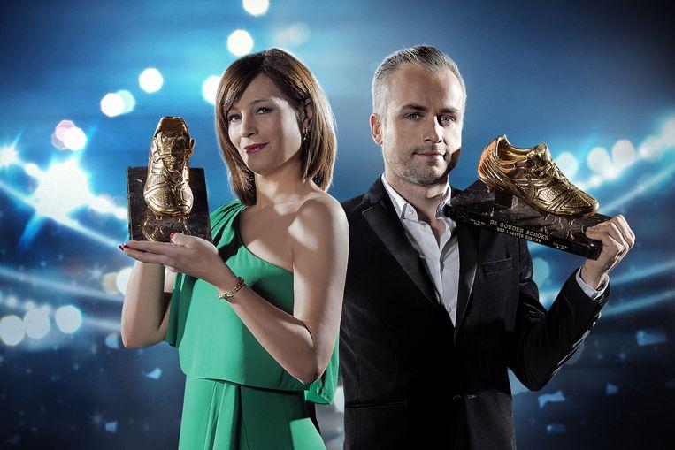De Gouden Schoen ; uitzending op woensdag 7 februari 2018 bij VTM. Op de foto : Birgit Van Mol en Maarten Breckx.
