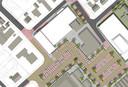 Zicht van bovenaf op de mogelijke toekomstige situatie van winkelcentrum Meidoornplein in Wezep..