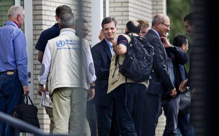 VN-inspecteurs, die in Syrie onderzoek hebben gedaan naar het gebruik van chemische wapens, bij het hoofdkantoor van OPCW. Beeld anp