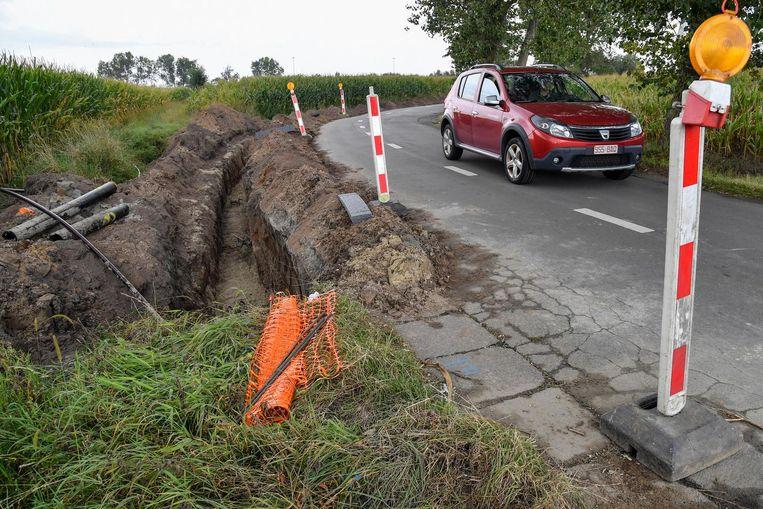 De werken aan de Wezepoelstraat in Zele zijn volop bezig.
