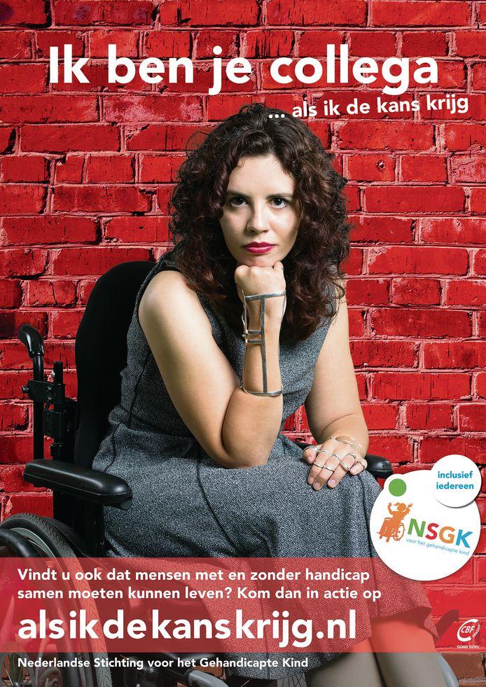 Christel Verbogt (20) uit Halsteren is het gezicht van een landelijke campagne van de Nederlandse Stichting voor het Gehandicapte Kind die donderdag van start gaat.