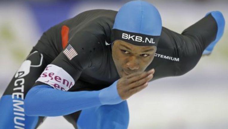 Shani Davis heeft zich afgemeld voor de ploegenachtervolging bij de Olympische Spelen. Foto ANP Beeld