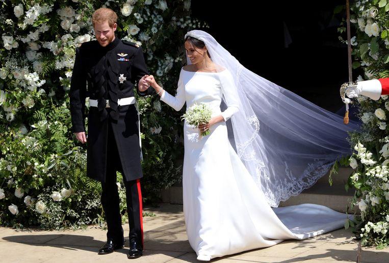 Prins Harry en Meghan op hun trouwdag.