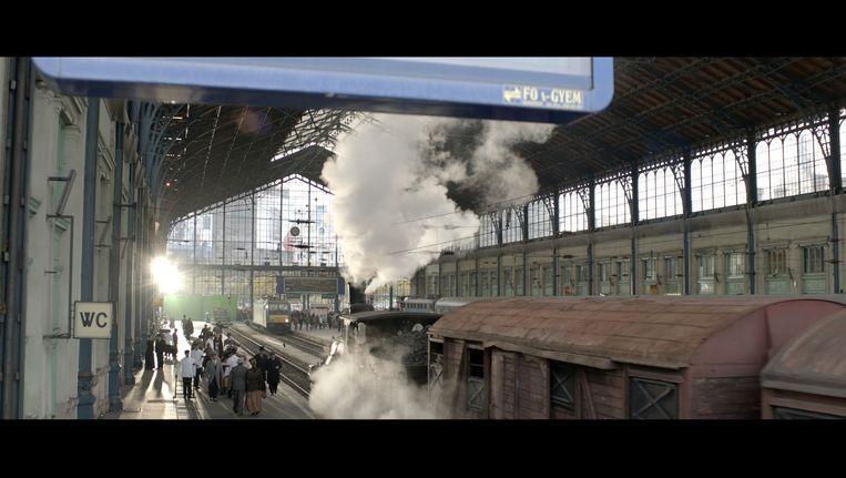 In Boedapest opgenomen stationscene voor nabewerking voor de film Publieke werken Beeld .