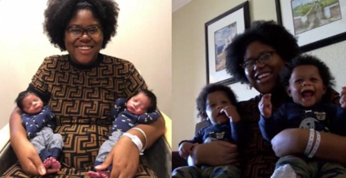 Alexzandria Wolliston, une habitante de Floride, a donné naissance à des jumeaux à deux reprises en 2019