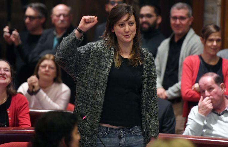 Line De Witte van PVDA maakt zich boos over de beloofde inspraak die volgens haar niet goed wordt ingevuld door het nieuwe stadsbestuur.