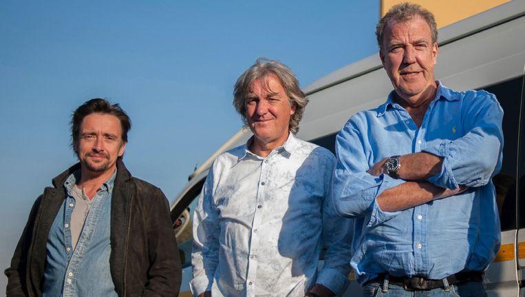 De drie presentatoren Richard Hammond, James May and Jeremy Clarkson van The Grand Tour. Beeld AFP