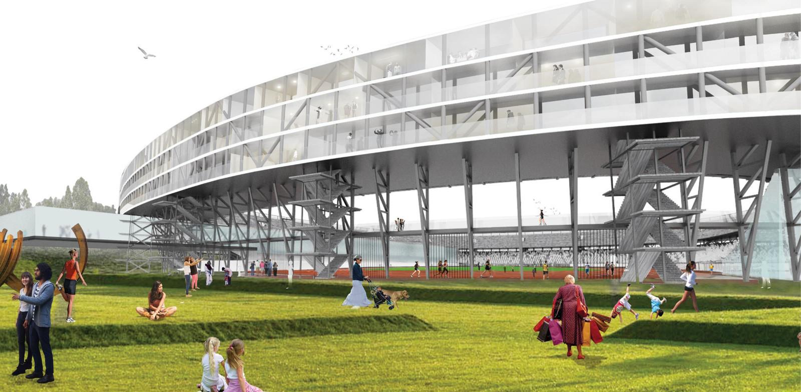 De huidige Kuip wordt in de plannen van Feyenoord City ingrijpend verbouwd.