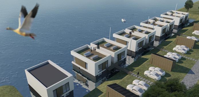 In het nieuw te bouwen deel van Zeewolde komen twaalf drijvende woningen.